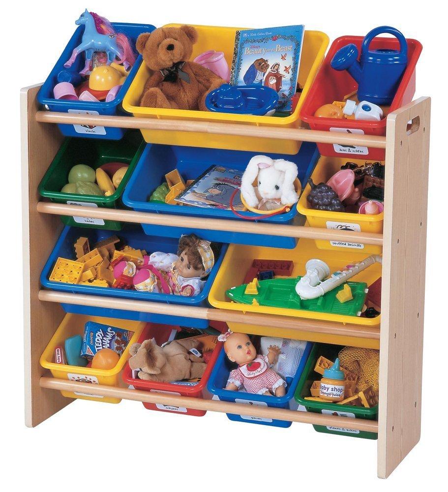 - Tot Tutors Kids Toy Organizer With Storage Bins, Primary Colors