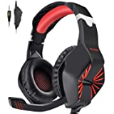 PECHAM Gaming Headset for Xbox One, PS4, PC with Mic - Surround Sound, Noise Reduction Game Earphone, Mute Switch- 3.5MM Jack for Cell Phone, Laptops, Computer (Red)