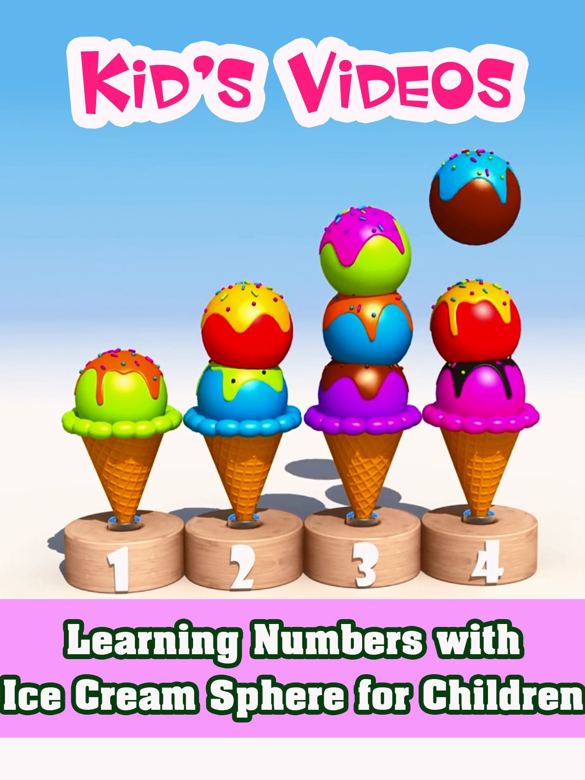 Learning Numbers with Ice Cream Sphere for Children