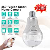 Pomiacam 360 Degree Panoramic Camera Wifi Bulb Lamp IP Camera 3.0MP Fisheye Lens Wireless Home Security CCTV Camera System for Kids & Pets Monitor with iOS/Android App Remote Control