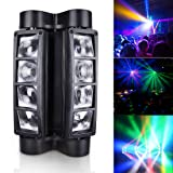 Betopper Spider Spot Moving Head Light LED DJ Lighting RGBW, 8 x 3W DMX 512 Dual Sweeper Pulse Strobe Effect, for Restaurant,Live,Concert Lighting (Color: M30)