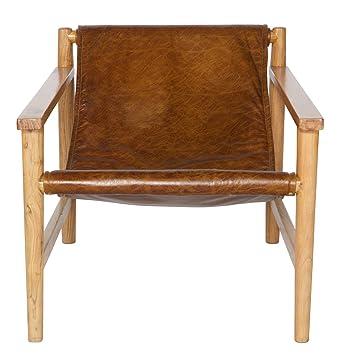 Fauteuil en bois et cuir, coloris naturel - Dim : H 70 x L 71 x P 94 cm - PEGANE -