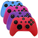HDE Controller Skins for Xbox One Controller 4 Pack Combo Silicone Rubber Protective Grip Case Cover for Microsoft Xbox One Wireless Gamepads (Blue, Red, Purple, Pink)