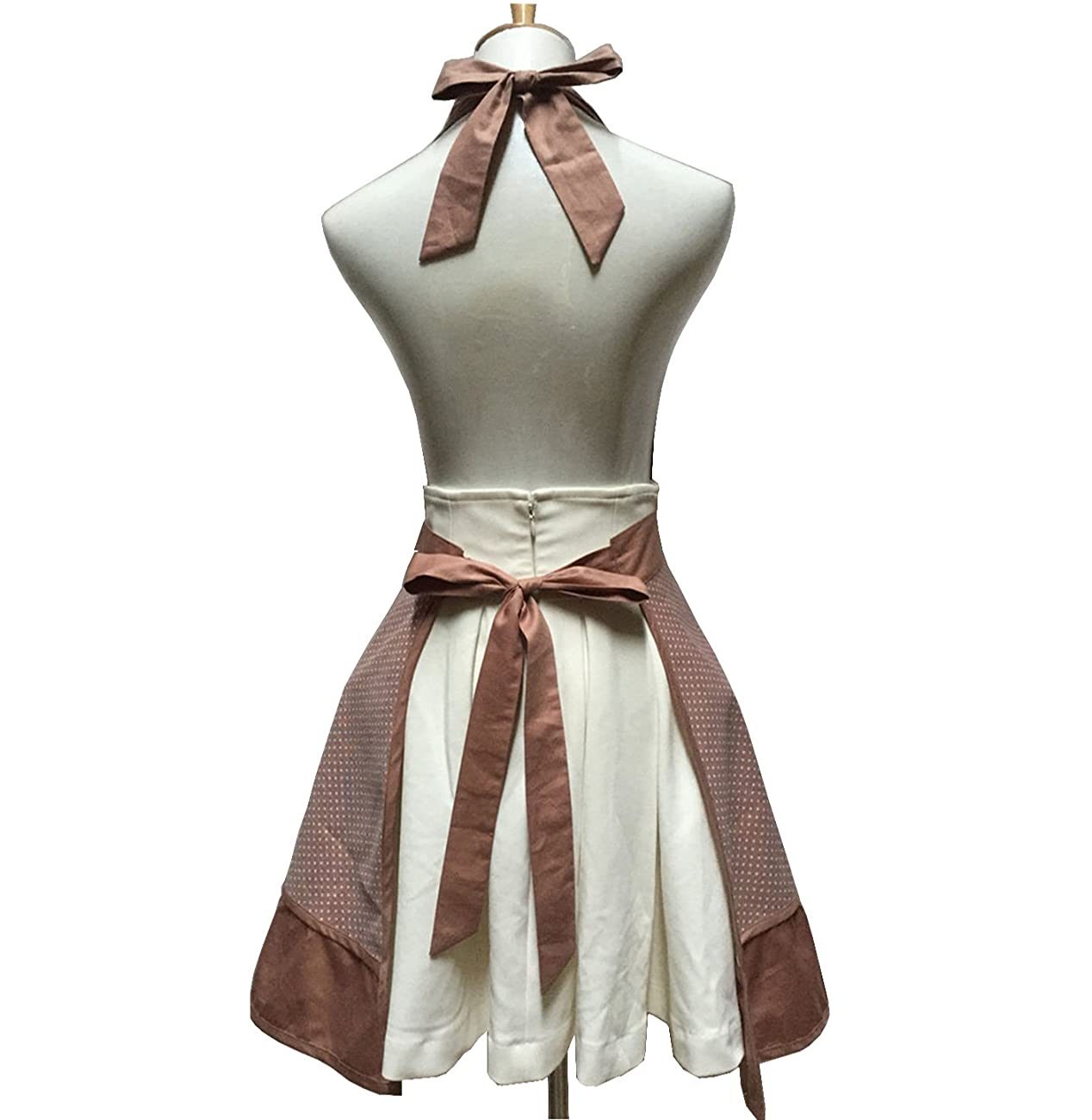 Lovely Sweetheart Retro Kitchen Aprons Woman Girl Cotton Cooking Salon Pinafore Vintage Apron Dress with Pocket,Brown 2
