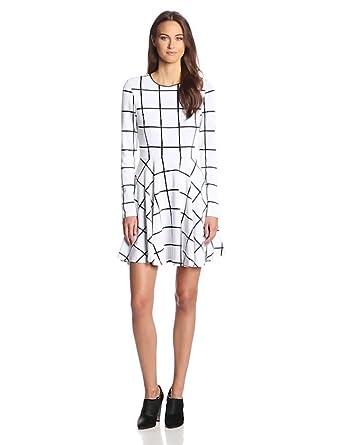 Ali Ro Women's Fit 'N' Flare Window Pane Dress, Black/White, 2