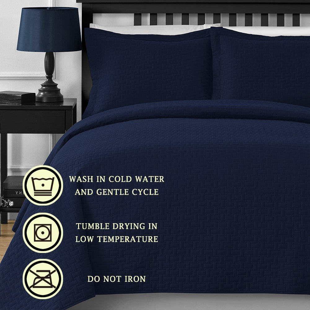 Comfy Bedding Frame Thermal Pressing 3-piece Oversize Coverlet Set Navy Blue King