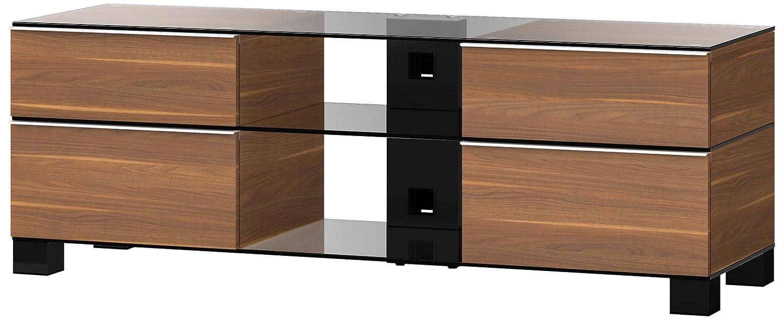 Sonorous MD 9240-C-HBLK-WNT Fernseher-Möbel mit Klarglas (Aluminium Hochglanz, Korpus Holzdekor) walnuß/schwarz