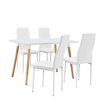 [en.casa] Esstisch / Esszimmertisch / Kuchentisch (120x80cm) mit 4 Polster-Stuhlen aus PU- Kunstleder weiß - Essgruppe in Sparpaket