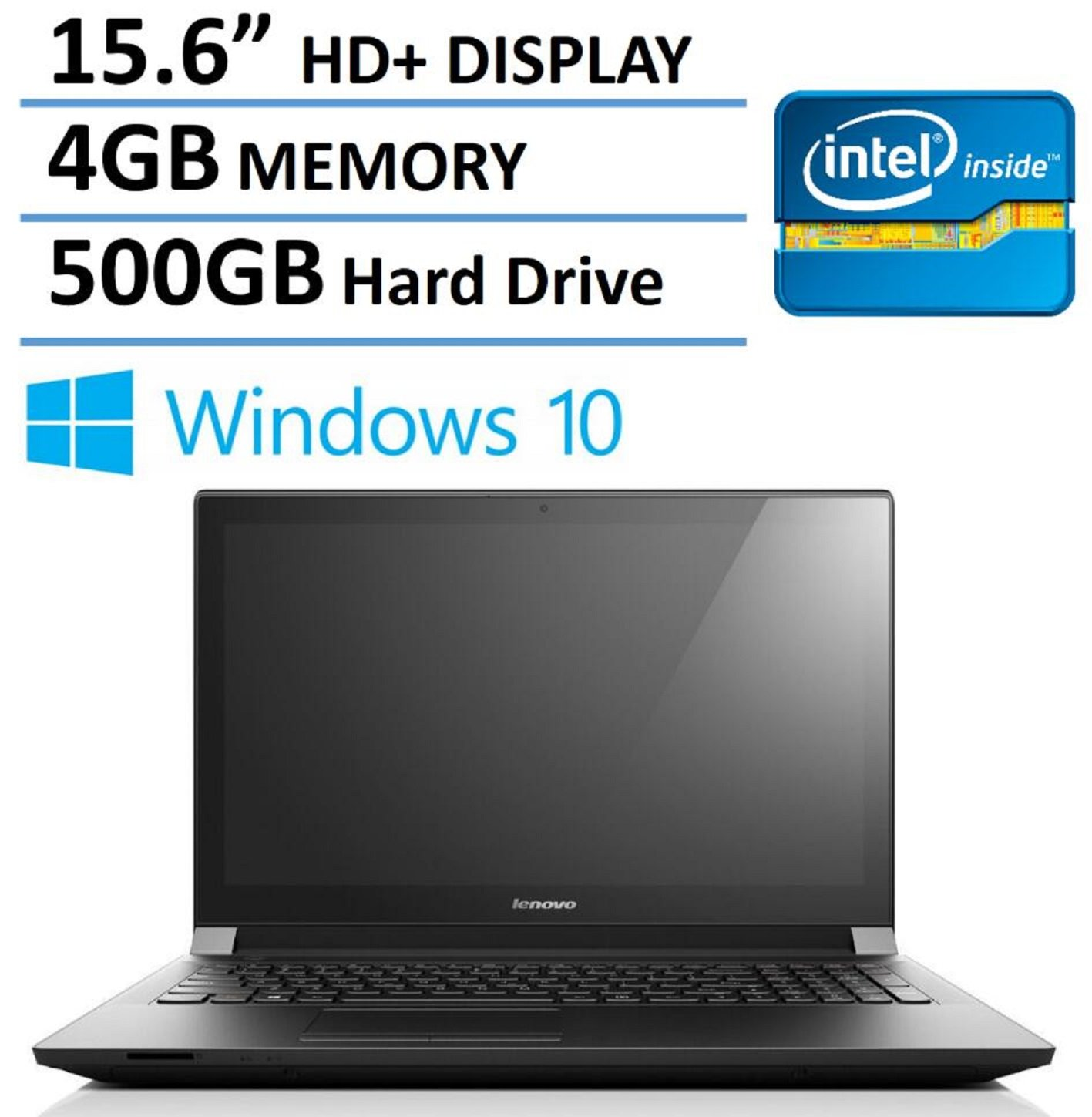 2016 NEW Edition Lenovo 15 Premium Laptop, Intel Dual-Core Processor, 4GB Memory, 500GB Hard Drive, 15.6-inch HD LED Backlit Display (1366 x 768), HDMI, Bluetooth, Webcam, Windows 10