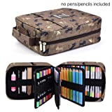 qianshan 202 Colored Pencils Pencil Case/136 color gel pens Pen Bag/Marker organizer - Universal Artist use Supply School Zippered Large Capacity slot Super big Professional Storage Coffee Cat (Color: Coffee Cat202)