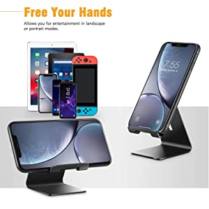 Tablet All Android Smartphone Verigle Cell Phone Holder Black Compatible with 4~8inch iPhone Xs XR 8 X 7 6 6s Plus SE 5 5s