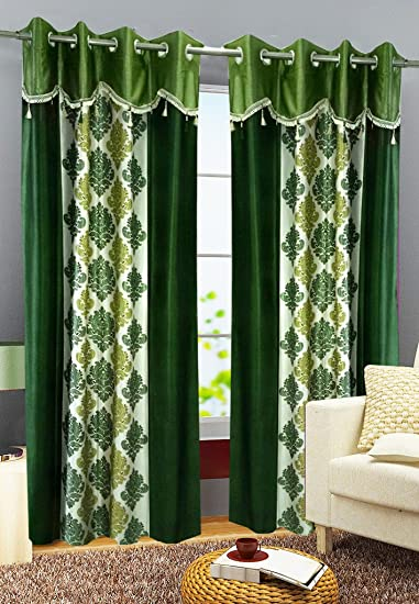 Green Curtains amazon green curtains : Buy Homefab India Set of 2 Designer Damask Green Curtains(HF363 ...