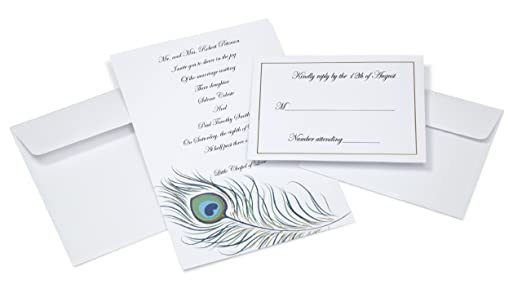 Wilton 1008-8954 Peacock Feather Invites for Wedding, 50-Pack