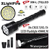 Inverlee XLightFire 45000 Lumens 18x XML T6 5 Mode 18650 Super Bright LED Flashlight Great Use for Outdoor Camping and Emergency (Black) (Color: Black)