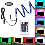 Bias Lighting for HDTV, Ashine TV Backlight 5050 RGB Color Changing LED Strip Lights USB Powered Background Lighting for Flat TV Screen (118 Inches) (Color: 118 Inches)