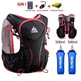 AONIJE Trail Running Backpack Vest Hydration Packs for Men and Women Ultralight Professional 5L Outdoor Backpack for Biking Walking Hiking Bicycle Cycling Marathon Running Race (Color: black-500ML)