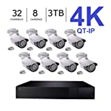 Q-See 4K (8MP) QT-IP Kit Eight Camera with NVR IP Ultra-HD 32-Channel with 3TB HDD with H.265 (QT816-3 + 8x QTN8086Ba) (Color: Eight 4K Cams, NVR 3TB, Tamaño: .8 Cameras)