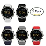 Lamshaw Classic Silicone Replacement Band for Fossil Q Explorist Smartwatch (5 pack) (Color: 5 pack)