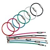 bayite BYT-WKC-4INP12 4 Inches Key Rings Stainless Steel Wire Keychains Cable Heavy Duty Luggage Tags Loops Tag Keepers 2mm Twist Barrel Pack of 12 (Color: Black, Silver, Red, Light Blue, Green, Magenta. 6 Colors × 2 Pcs Each Color, Tamaño: Cable Length: 4 inch)