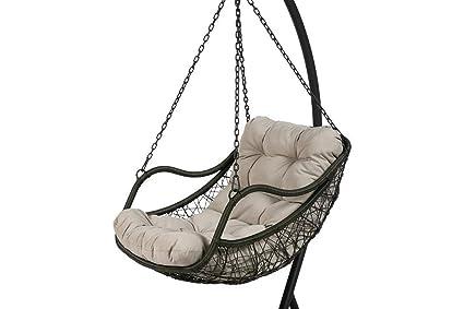 Balancelle de jardin en acier traité Epoxy avec assise en polyester - Dim : D.106cm x H.205cm - PEGANE -
