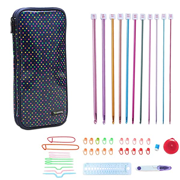 Teamoy Aluminum Tunisian Crochet Hooks Set, Afghan Kits with Case, 11pcs 2mm to 8mm Afghan Hooks and Accessories, Compact and Easy to Carry, Colorful Dots (Color: Colorful Dots)