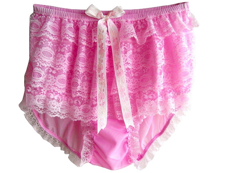 Frauen Handgefertigt Schlüpfer Neu US9H1 Pink Briefs Nylon Panties Knicker Lacy günstig