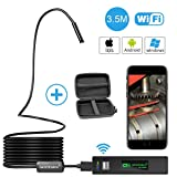 Wireless Endoscope, GOODAN Updated 1200P HD Wireless Borescope Wifi Inspection Camera With 2.0 Megapixels For Iphone and Android Smartphone, Table, Ipad, PC - Black (11.5FT) - Include Carrying Case