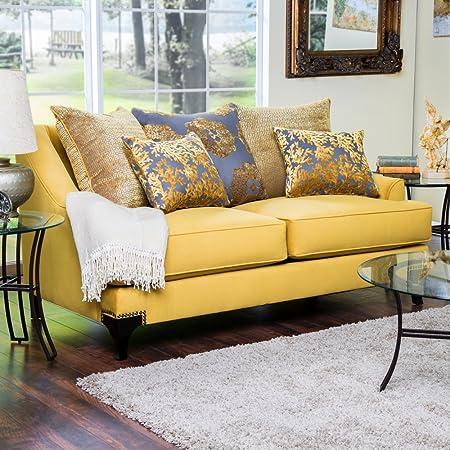 Furniture of America Atene Premium Fabric Loveseat - Gold