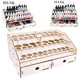OPHIR Wooden Paint Rack Stand Pigment Ink Bottle Paints Tool Storage with Cabinet Holder Organizer for 58 Bottles of Paints