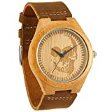 WONBEE Bamboo Wood Watches Skull Design with Cowhide Brown Leather Strap Unisex Packed in Gift Box