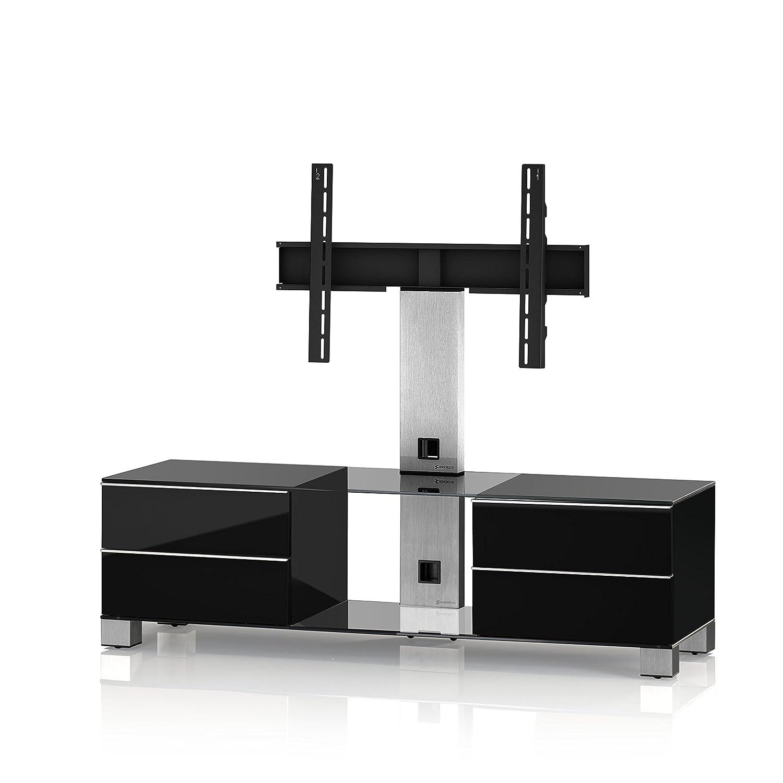 Sonorous MD 8540-C-INX-BLK Fernseher-Möbel mit Klarglas (Aluminium Inox, Korpus Hochglanzdekor) schwarz