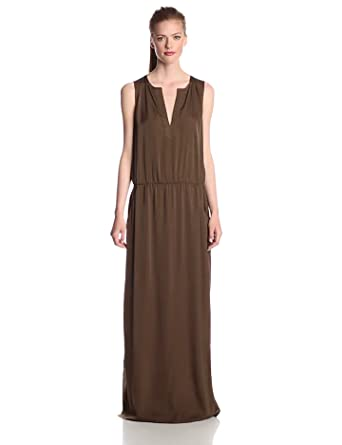 BCBGMAXAZRIA Women's Alexis Sleeveless Maxi Dress, Fatigue, X-Small