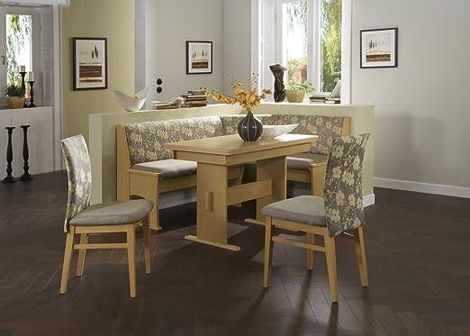 Dreams4Home Eckbankgruppe 'Ebini' Essgruppe 167 x 128 x 87 cm Tisch 2 Stuhle modern Buche Dekor beige Eckbank Kuchentisch 4-teilig Landhaus Kuche