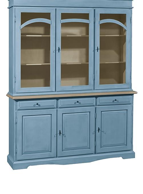 Cristalliera in legno massello finitura Carta da zucchero, con 3 porte, 3 cassetti e 3 ante in vetro