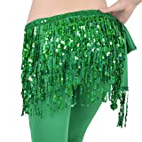 MUNAFIE Women's Belly Dance Hip Scarf Performance Outfits Skirt Festival Clothing Green