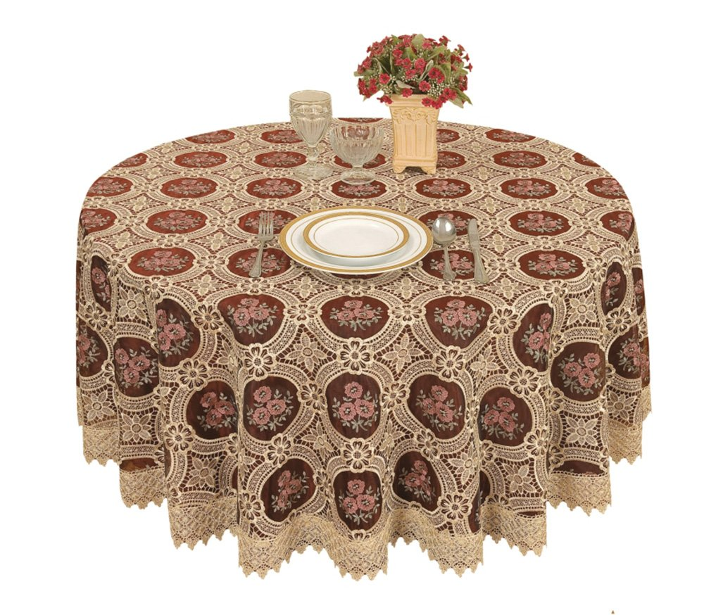 Vintage Elegant Beige Round Lace Tablecloth Linen Embroidered Flower Burgundy Translucent Gauze Customer Order (round 70 by 70 inch) 0