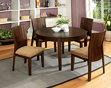 5 Pc. Ottawa I Transitional Style Design Round walnut finish wood dining table set with padded seats