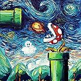 Starry Night Piranha Plant - Video Game Art - Fine art print - giclee - Mario Art - Nintendo - van Gogh Never Leveled Up - Art by Aja 10x10 inches