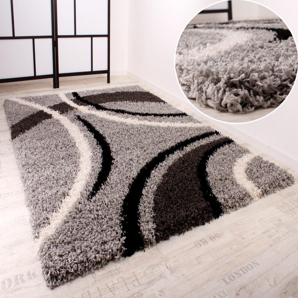 Shaggy Teppich Hochflor Langflor Gemustert in Grau Schwarz Weiss, Grösse300x400 cm  Kundenbewertung: