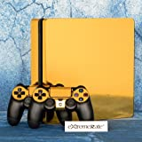 eXtremeRate Full Faceplates Skin Console & Controller Decal Stickers for PS4 Slim Console Skin X 1 + Controller Skin X 2+ Lightbar Decal X 2 (Color: gold)