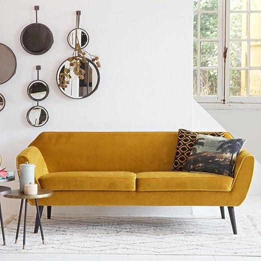 2,5 Sitzer Sofa ROCCO Samt ocker Couch Loungesofa Garnitur Couchgarnitur