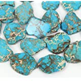 20pcs Natural Turquoise Blue Sea Sediment Regalite Jasper Smooth Free Form Gemstone Nugget Loose Stone Beads ~ 15-45mm GX7 (Color: Turquoise blue)