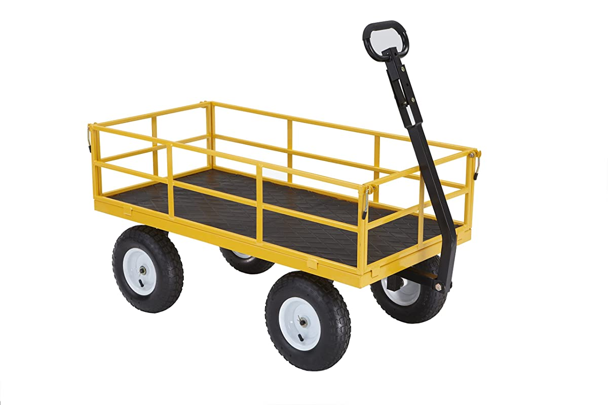 "Gorilla Carts Heavy-Duty Steel Utility Cart with Removable Sides and 13"" Tires with 1200 lb Capacity, Yellow"