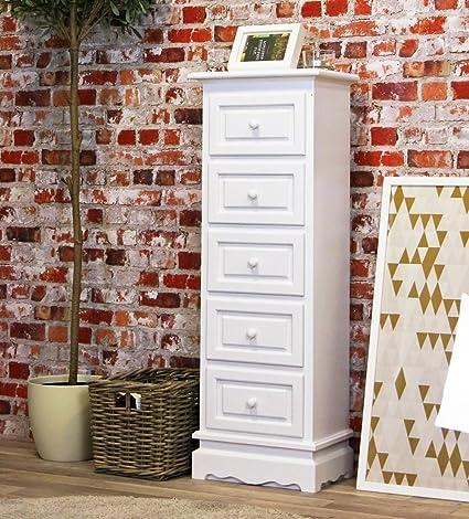Kommode / Beistelltisch in weiß, mit 5 Schubladen, Shabby-Chic