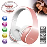 Wireless Headphones Over Ear, Bluetooth Headphones Rose Gold Foldable Earphones with Mic Stereo Bluetooth Headsets Gift for Girl Women Kids Wired Wireless Mode for TV Computer Laptop iPhone Cell Phone
