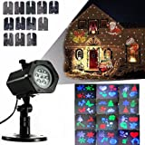 FVTLED Christmas LED Projector Lamp Landscape Projection Lamp RGBW Rotating Christmas Halloween Lights Projection Waterproof 12 Patterns Spotlight for Holiday, Party, Wall, Home Décor (Color: Christmas Projector Light)