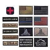 R.SASR Bundle 14 Pieces American Flag Tactical Military Morale Patch Set (Mixed 14 Pieces) (Color: Mixed 14 Pieces)