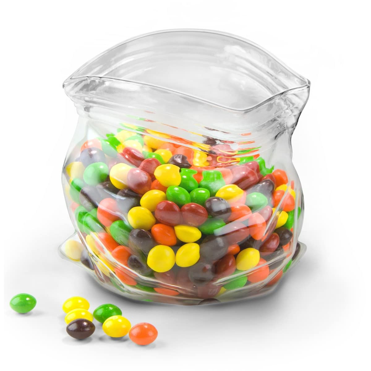 glass bag bowl filled with candy