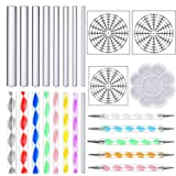 DaBuLiu 25 Pieces Mandala Dotting Tools for Painting Rocks,16 x Acrylic Rods,5 x Double Sided Dotting Tools,3 x Mandala Stencils and Paint Tray (Color: Mandala Dotting Tools)