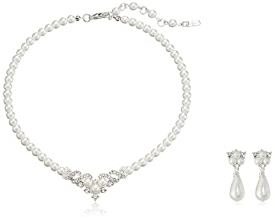 Bridal Wedding Jewelry Set Austrian Crystal Pearl Beautiful Elegant Necklace
